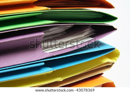 Close Up of Document Folders on White Background