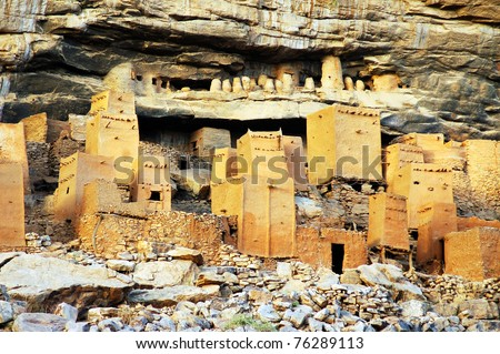 Close up of Dogon and Tellem houses at the base of the Bandiagara escarpment in Mali - stock photo