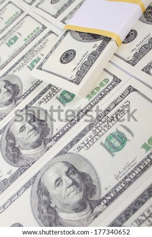 Close-up of dollar cash pile of money