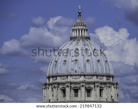 Close-up of Dome of St Peters, Vatican, Rome - stock photo