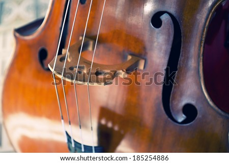 Close-up of double bass, wooden musical instrument that is played with a bow - stock photo