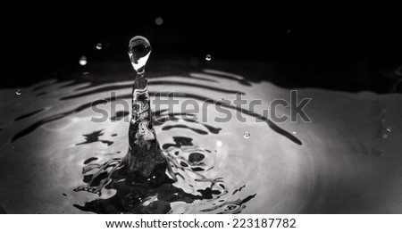 Close up of drop of water splashing in pool - stock photo