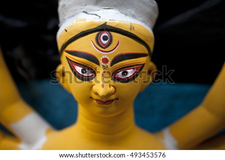 Close up of Durga idol,the Goddess of Hindu