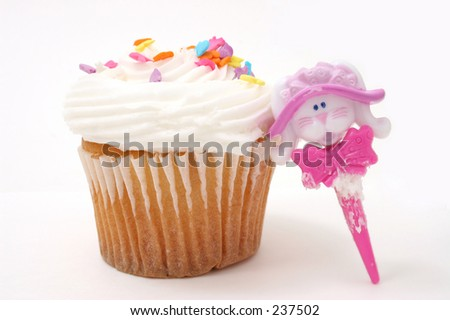 Close-up of Easter bunny cupcake.