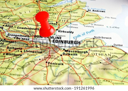 Close up of Edinburgh on a map with red pin  - stock photo