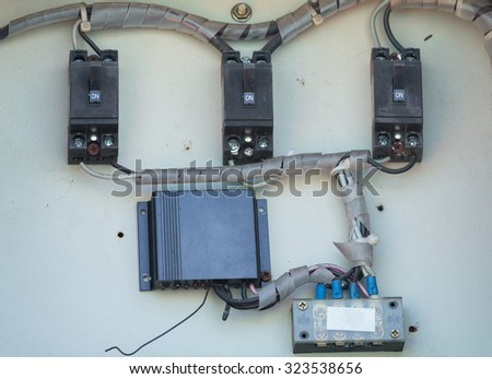 close up of electric breaker - stock photo