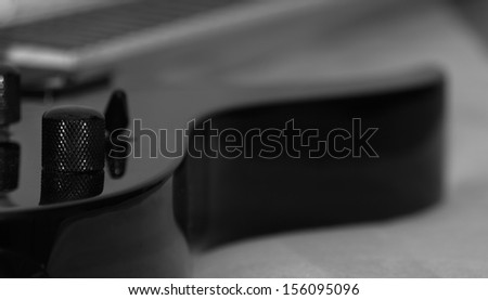 Close-up of Electric Guitar,Focus on Mechanism,Black And White.