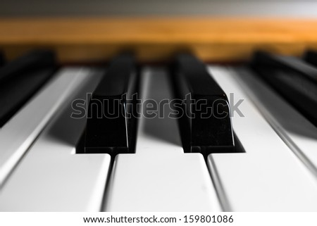 close-up of electric piano keys - stock photo