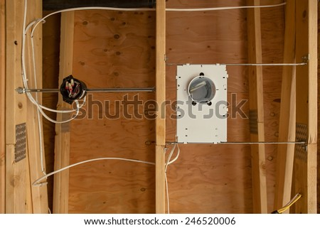 Close Up of Electrical Wiring in Home Construction - stock photo