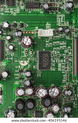 Close-up of electronic circuit board. - stock photo