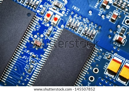 Close-up of electronic circuit board. Macro.