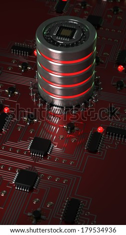 close-up of electronic circuit board with processor High resolution 3d render - stock photo
