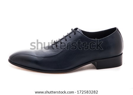 Close-up of elegant mens shoes on white background. Men's Classic Black Leather Shoes Isolated on White Background - stock photo