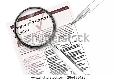 Close-up of emergency prepared checklist with pencil on it - stock photo