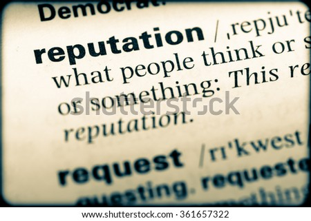 Close up of English dictionary page with word reputation - stock photo
