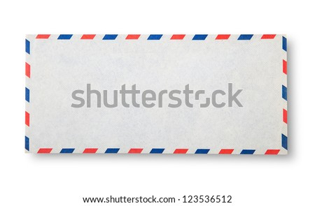 Close-up of  envelope on white with shadow