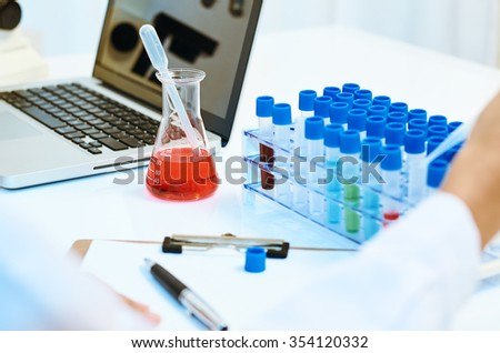 close up of equipments used in the laboratory  - stock photo