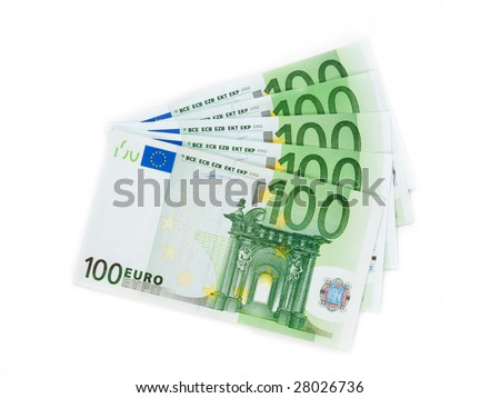 Close-up of  100 Euro banknotes isolated on white background. - stock photo