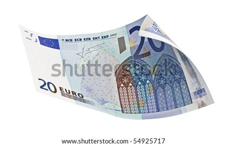Close-up of 20 Euro bill,isolated on white with clipping path. - stock photo