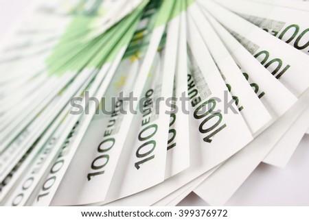 Close-up of euro cash pile of money - stock photo