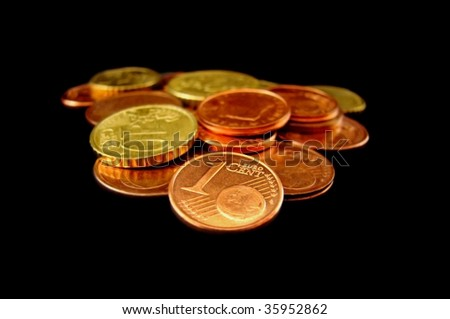 Close-up of euro coins of various values - stock photo