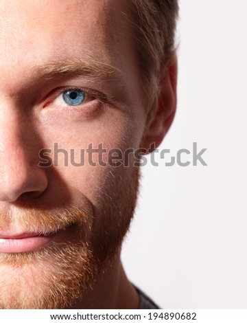 Close up of eyes from a young man, caucasian - stock photo