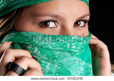 Close up of eyes of young woman. - stock photo