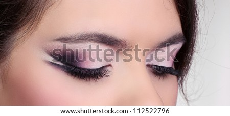 Close up of eyeshadow. Eyes Makeup. Make-up. Eyes shadows. - stock photo