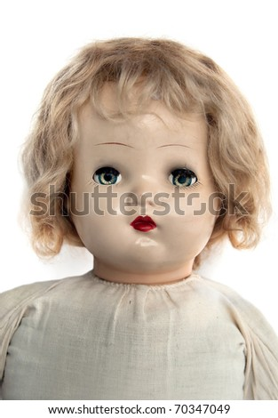 Close-up of face of beautiful antique doll - stock photo