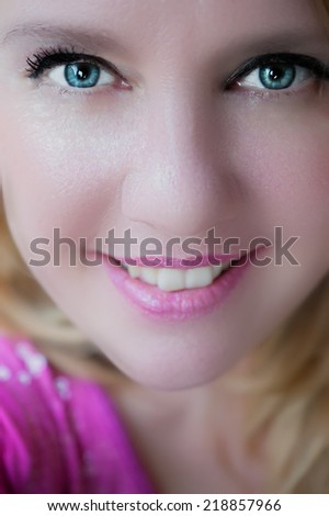 Close up of face of beautiful woman