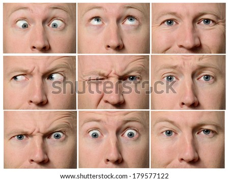 Close up of facial expressions focused on eyes - stock photo