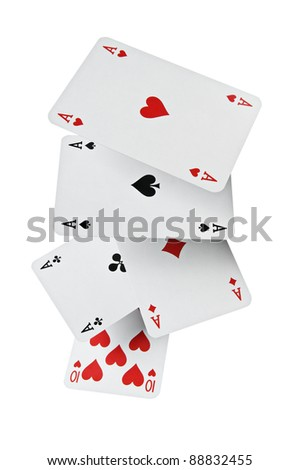 Close up of falling poker playing cards with clipping path - stock photo