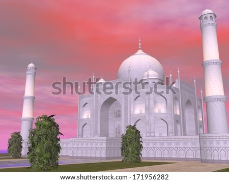 Close up of famous Taj Mahal mausoleum by sunset, Agra, India