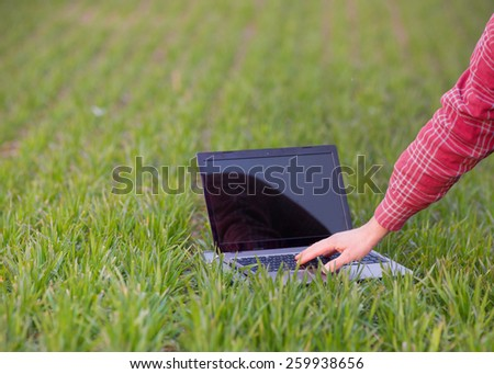 Close up of farmer's hand working on laptop oh young sprouts