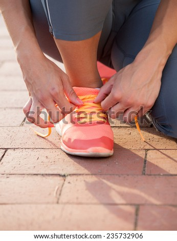 Close up of feet of a runner  - stock photo