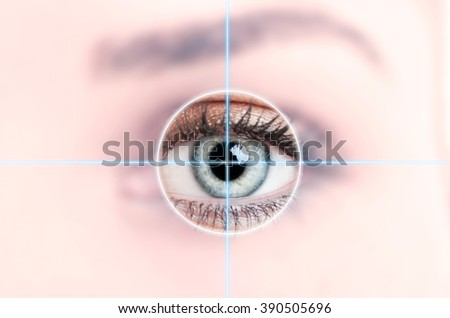 Close up of female blue eye scanned for access as high-tech personal identification concept - stock photo