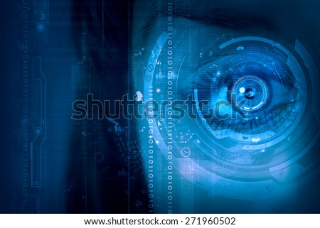 Close up of female digital eye with security scanning concept - stock photo