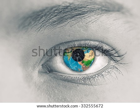 Close up of female eye with Earth planet. Elements of this image are furnished by NASA - stock photo