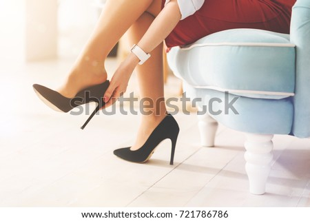 Woman Sitting On Toilet Smartphone Stock Photo 595719383