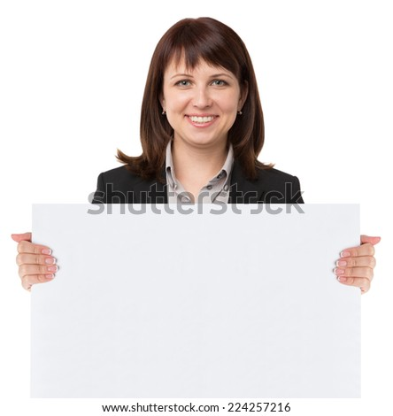 Close up of female hand holding blank advertising card on white - stock photo