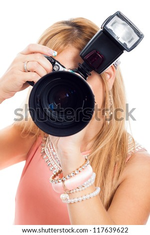 Close up of female photographer, isolated on white background. - stock photo