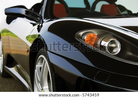 close up of ferrari F430 spyder - stock photo