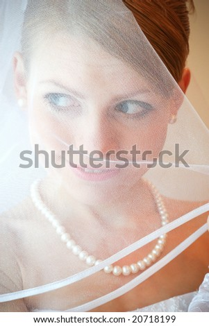 Close-up of fiancee with make-up - stock photo