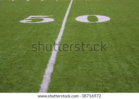 Close up of fifty yard line on artificial turf