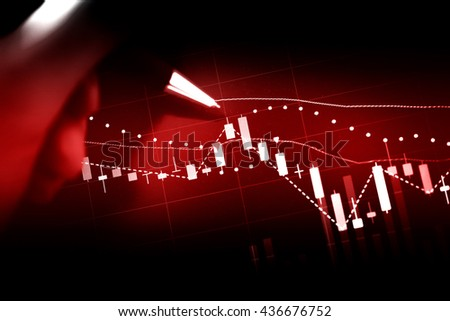 Close up of finance business graph which including of Up trend and Down trend. - stock photo
