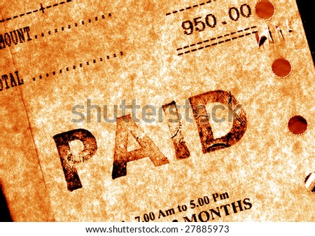 Close up of financial Invoice