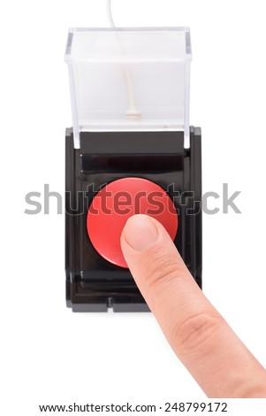 Close-up Of Finger Pressing Red Button Over White Background - stock photo