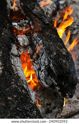 Close up of fire burning - stock photo