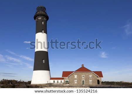 Close up of Fire Island lighthouse. Fire Island National Seashore, Long Island, New York. - stock photo