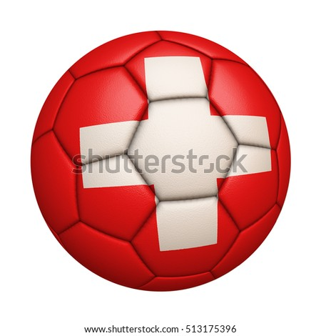 Close-up of flag football / soccer ball of Switzerland isolated on white (High-resolution 3D CG rendering illustration)